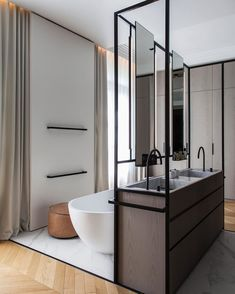 Bathroom decor for your bathroom remodel. Learn bathroom organization, master bathroom decor some ideas, master bathroom tile some ideas, bathroom paint colors, and more. Bathroom Interior, Modern Bathroom, Small Bathroom, Master Bathroom, Parisian Bathroom, Minimal Bathroom, Boho Bathroom, Bathroom Mirrors, Bathroom Cabinets