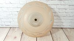 Vintage Porcelain Light Fixture with Pale Pink Glass Ceiling Light Globe by maliasmark on Etsy