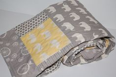 baby quilt, ORGANIC baby quilt-elephant baby quilt, yellow, gray, neutral, dots, polka dot  - ready to ship