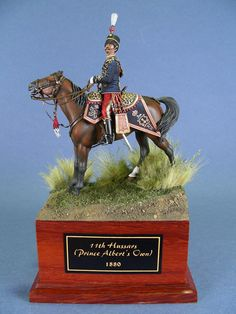 An Officer of (prince Albert's Own) Hussars A figure, a basic horse figure detailed with Andrea materials and a scratchbuilt Officer. All done and painted by Mario Venturi British Uniforms, Prince Albert, Prussia, Diorama, Miniatures, Military, Soldiers, Horses, Christmas Ornaments