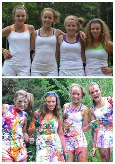 Paint fight! Before and After gray party idea for older kids. ...tweens