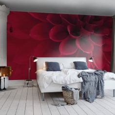 Love is the flower you've got to let grow - John Lennon A wall mural picturing a close up of a red dahlia ads drama and warmth.