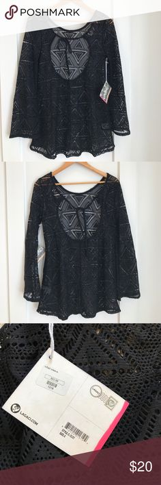 NWT Legaci Cover Up Size S Black cover up with long bell sleeves and keyhole back and tie around neck. The perfect cover up. Legaci Swim Coverups