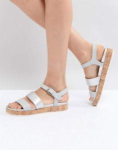 276defb376ac Shop Head Over Heels by Dune Blue Cork Flatform Sandals at ASOS.