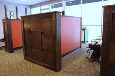 I don't like the wood work but this is an idea about open adjusting spaces