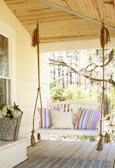 Porch swing for spring.  9 Ways to spruce up your porch.