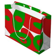 Gorgeous green and red orbs large gift bag by Khoncepts.com  #redandgreen #giftbag