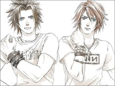 Squall Leonhart and Zack Fair with NIN t-shirt aw yeah. (Final Fantasy VII Crisis Core & Final Fantasy VIII) #ff8 #ff7