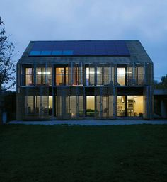 <p>Karawitz Architecture designed this two-story house in Bessancourt, France, 18 miles northwest of Paris. The sloped roof is clad in solar…
