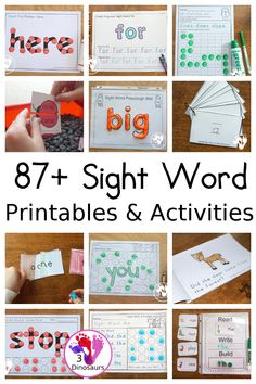 87+ Sight Word Printables & Activities - a huge collection of sight word cards, sight word packs, sight word easy reader books, sight word worksheets, sight word hands-on and more - 3Dinosaurs.com #sightwords #learningtoread #printablesforreading Reading Themes, Reading Centers, Reading Activities, Guided Reading, Teaching Reading, Sight Word Spelling, Sight Words List, Sight Words Printables, Sight Word Worksheets