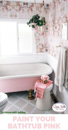 How to Paint a Claw Foot Tub; At Home with Ashley & Dixie Belle Paint Company Claw Bathtub, Clawfoot Tub Bathroom, Tub Paint, Painting Bathtub, Shop Interior Design, Bathroom Interior Design, Pink Chalk, Paint Companies, Dixie Belle Paint