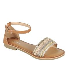 This Tan Embellished Festive Sandal is perfect! #zulilyfinds