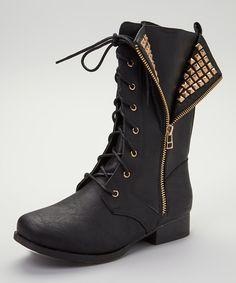 Love this Black Jetta Combat Boot by Wild Diva on #zulily! #zulilyfinds only 17$ was 60$