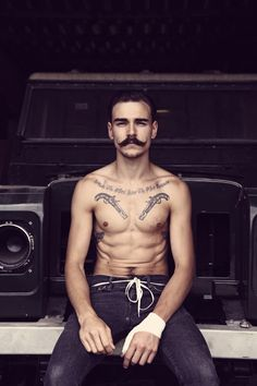 Moustache, Tats and a Six Pack. Tattoos 3d, Tattoos For Guys, Tattooed Guys, Moustaches, Beard Tattoo, I Tattoo, Revolver Tattoo, Flintlock Pistol Tattoo, Pistol Tattoos