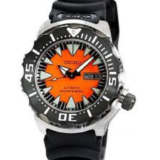 Seiko 5 Automatic 200m Orange Dial Monster Sports Diver Watch SRP315K1