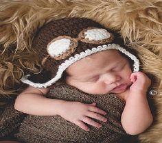 New Baby Boy Girl Crochet Beanie Costume Hat 4-12M Photo Prop Brown Aviator gift