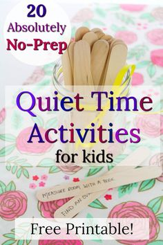 No-prep, no mess quiet time activities for kids! These quiet moments are great for when you need 10 minutes! Source by prekpages and me activities Activities For 6 Year Olds, Morning Activities, Quiet Time Activities, Creative Activities For Kids, Indoor Activities For Kids, Kids Learning Activities, Home Activities, Toddler Activities, Camping Activities