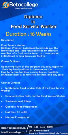 Food Service Worker, 16 Weeks, Career Options, Long Term Care, Commercial, Knowledge, College, Technology, Business