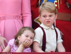 Prince George and Princess Charlotte watch Trooping the Colour at Buckingham Palace