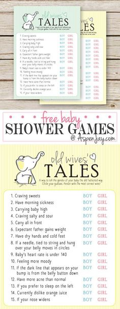 FREE Printable Baby Shower Game - Old Wives' Tales - GENDER NEUTRAL -such a fun shower trivia game and I swear some really are true!!! That little elephant is adorable!