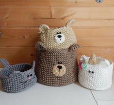 Bear nursery decor, Bear basket, Crochet nursery basket, Woodland bear storage Bear nursery decor Be Crochet Bear, Baby Blanket Crochet, Hand Crochet, Crochet Toys, Crochet Storage, Crochet Decoration, Crochet Home Decor, Crochet Motifs, Crochet Patterns