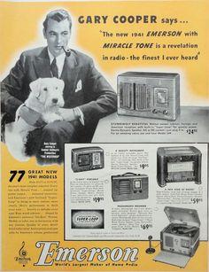 1940 ORIG.  PRINT AD EMERSON HOME RADIOS featuring Gary Cooper #EmersonRadios