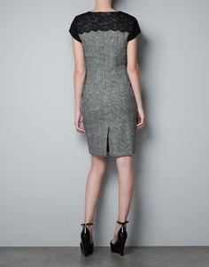 GREY DRESS WITH LACE DETAIL - Dresses - Woman - ZARA