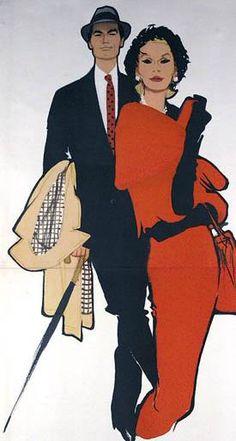 René Gruau - Couple Elégant - 1960