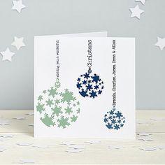 Personalised Snowflake Bauble Cards
