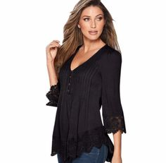 Description Product Name: 6 Colors 2017 Spring Summer Sexy Fashion Nine Quarter Sleeve Casual Lady Tank Women Tops Loose Blouse Lace Clothes Plus Size Item Autumn T Shirts, Black M, Sexy, Lace Sleeves, Full Sleeves, Couture, Manga, Pattern Fashion, Shirt Blouses