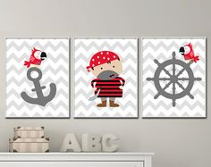 Muchacho bebé vivero arte pirata vivero juegos por HopAndPop