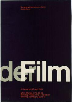 Josef Müller-Brockmann  1960 (The International Typographic Style) der Film (Of the Film) exhibition poster