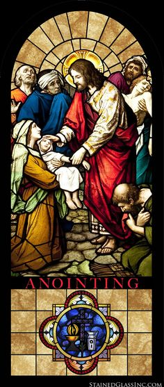 """Anointing"" Religious Stained Glass Window"