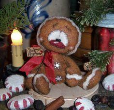 "Primitive Christmas Cookie Ornament 4"" Gingerbread Doll Vtg Patti's Ratties Bear"