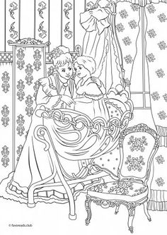 victorian mother and child coloring page