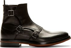 Alexander Mcqueen: Black Monk Strap Boots Very Cool look! Me Too Shoes, Men's Shoes, Shoe Boots, Dress Shoes, Leather Men, Leather Shoes, Alexander Mcqueen Boots, Mens Boots Fashion, Swagg