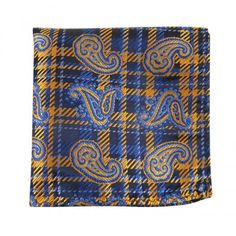 Silk Pocket Square-Dark Navy, Blue, Gold Paisley, Plaid from NELSON WADE. $38