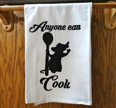 "Disney Kitchen Towel: Anyone Can Cook- Chef Ratatoulle with spoon screen printed black ink on white 30x30"" cotton flour sack kitchen towel by Bewilderberries on Etsy https://www.etsy.com/listing/483093202/disney-kitchen-towel-anyone-can-cook"