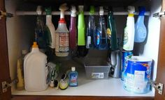 You'll be amazed at how easy it is to find everything under your kitchen sink once you utilize a tension rod. And with this trick, you'll have so much more room for extra storage.  Get the tutorial here.  Courtesy of Hometalker / Made From Pinterest   - Redbook.com