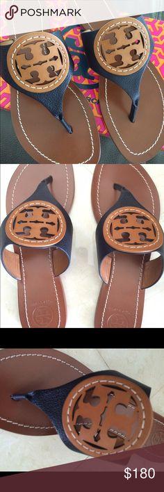 Nwt Tory Burch Louisa Flat Thong Nwt Tory Burch Louisa Flat Thong Tory Navy/Royal Tan size 8 Tory Burch Shoes Sandals