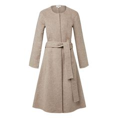 Wool/Polyester Long Sleeve Wrap Coat. Comfortable oversized silhouette features a wrap over front body with waist tie, dropped shoulder with long sleeves and long line body. Available in Donkey as shown.