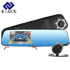 Nieuwe E-ACE Full HD 1080 P Auto Dvr Camera Spiegel Met Dual Lens Video Recorder Auto Dvrs Achteruitkijkspiegel Camera 6 Led Light Dash Cam