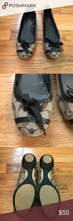 Brown Coach Flats NEVER WORN, new w/o Tags!! Tie up toe detail Coach Shoes Flats & Loafers
