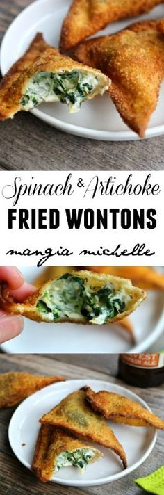 Spinach and artichoke fried wontons are a delicious spin on the classic spinach and artichoke dip ~ www.mangiamichell...