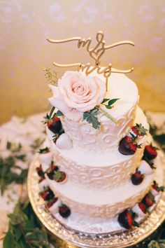 Wedding Cake with Chocolate Covered Strawberries - Classic California Romance - Wedding at Grand Island Mansion - San Francisco, CA by JBJ Pictures (on Borrowed and Blue) Wedding and Engagement Photographer