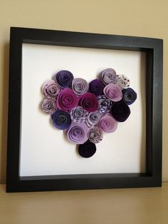 Purple Paper Rose Heart Paper Art Customize with your by PaperLine