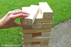 How to Make a Giant Jenga Yard Game - Creative Green Living Diy Yard Games, Backyard Games, Outdoor Games, Outdoor Jenga, Yard Jenga, Life Size Jenga, Fun Crafts, Crafts For Kids, Giant Jenga