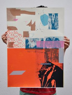 Test prints palefroi by Damien Tran, collaged elements, worn away, interrupted shapes