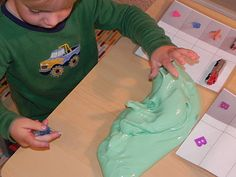 Home Made Silly Putty  Equal parts of liquid laundry starch and school glue.    Slowly mix starch in with glue... the more you handle it the better it will be.      If the mixture is too sticky, add more starch. If it is too stringy, add more glue.    Add a bit of color using food coloring