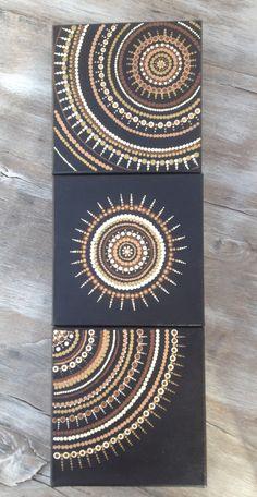 Crafts Canvas Earth toned natural trio dot art painting on canvas art mandala Mandala Art, Mandalas Painting, Mandala Canvas, Kunst Der Aborigines, Dot Art Painting, Abstract Art, Diy Canvas Art, Canvas Canvas, Aboriginal Art